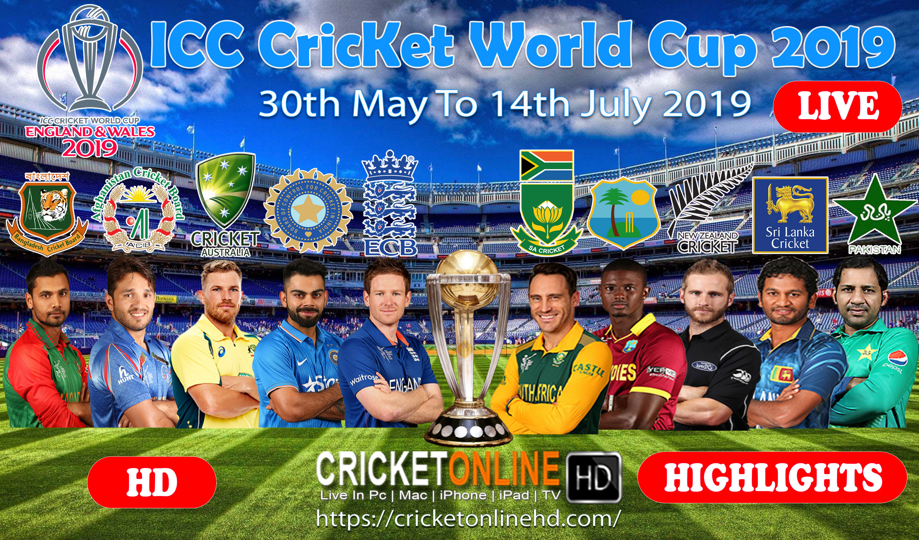 Icc Cricket World Cup 2019 Live Streaming HD