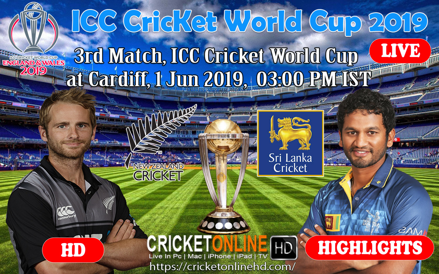 3rd match, ICC Cricket World Cup at Cardiff, Jun 1 2019