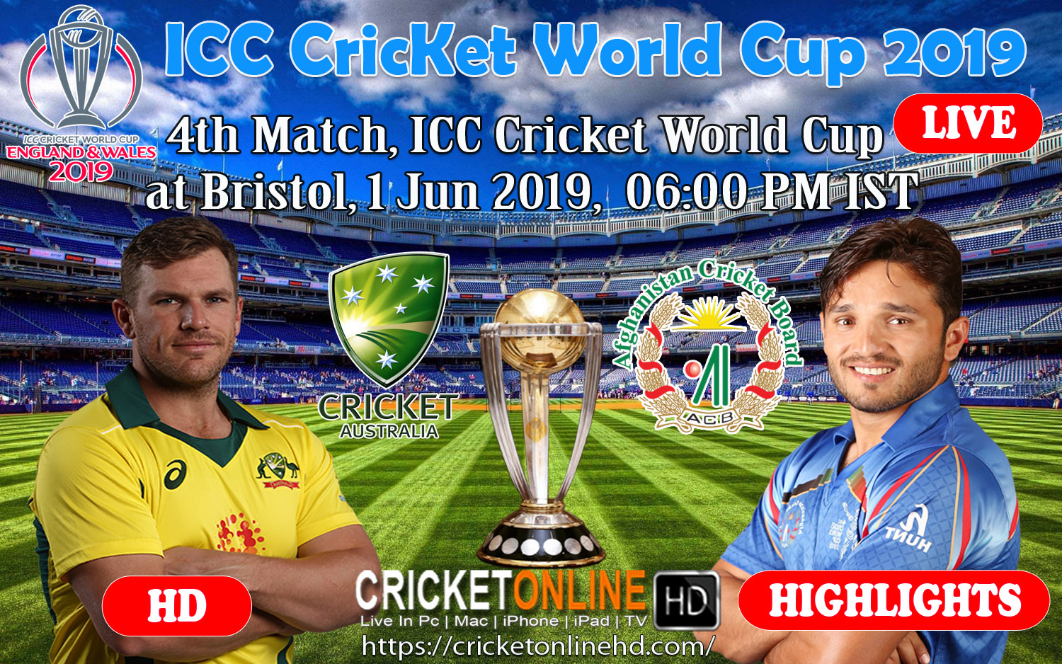 4th match (D/N), ICC Cricket World Cup at Bristol, Jun 1 2019