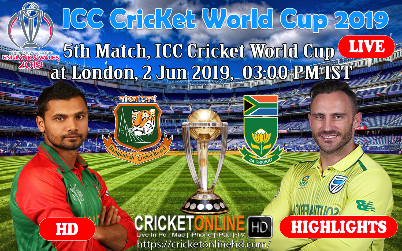 Bangladesh vs South Africa 5th match, ICC Cricket World Cup at London, Jun 2 2019