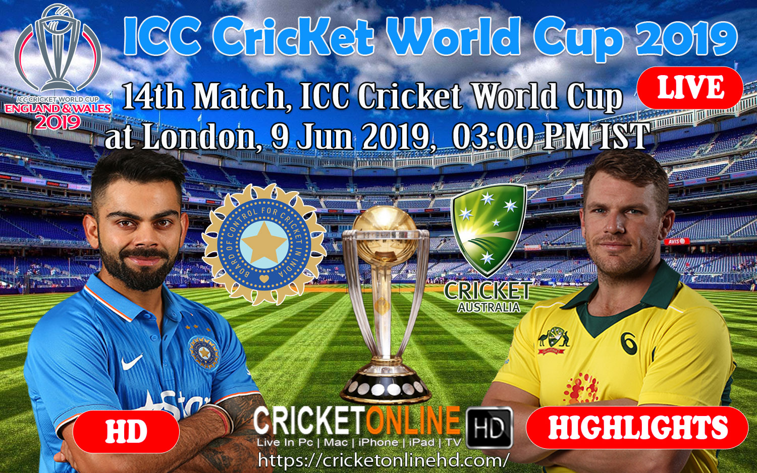 India Vs Australia 14th Match, Icc World Cup 2019 Live Streaming Online at London, Jun 9