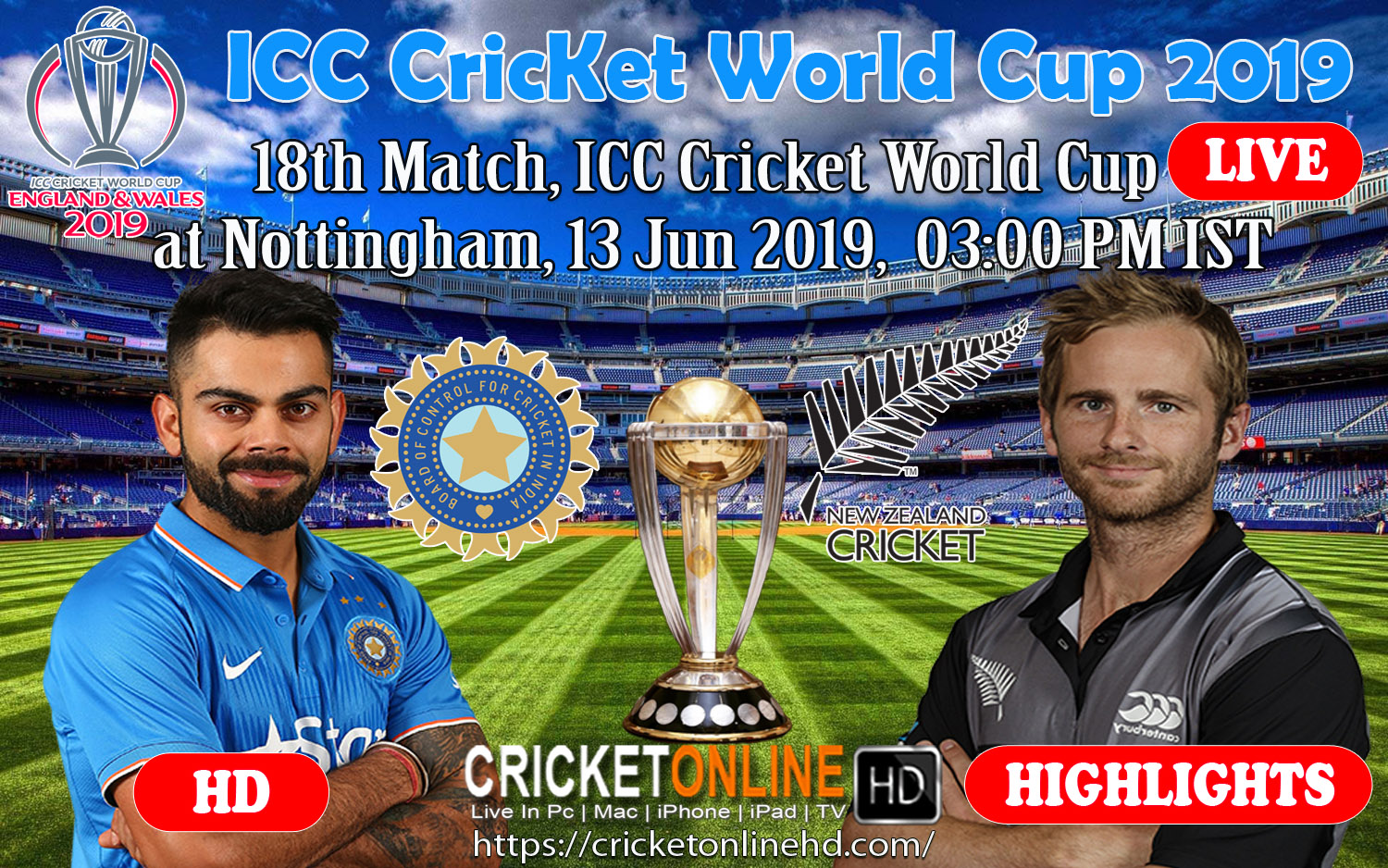 Icc World Cup 2019 Schedule 18th Match India Vs New Zealand At Nottingham, Jun 13