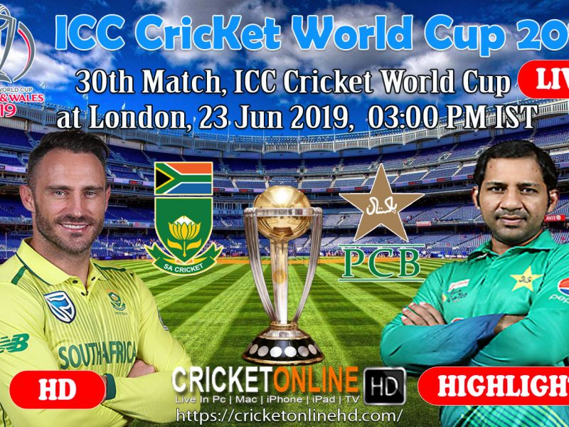 Pakistan Vs South Africa 30th Match, ICC Cricket World Cup 2019 Streaming HD At London, Jun 23