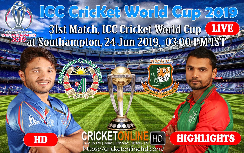 Afghanistan Vs Bangladesh 31st Match, ICC Cricket World Cup 2019 Live Streaming HD at Southampton, Jun 24