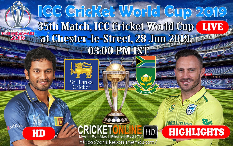 Sri Lanka Vs South Africa 35th Match Icc World Cup Cricket