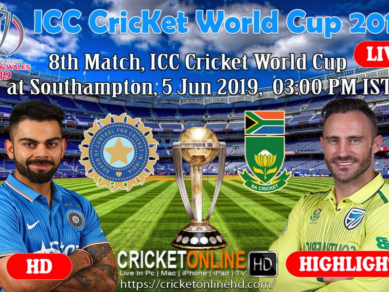 India Vs South Africa 8th Match, Icc World Cup 2019 Schedule At Southampton, Jun 5 2019