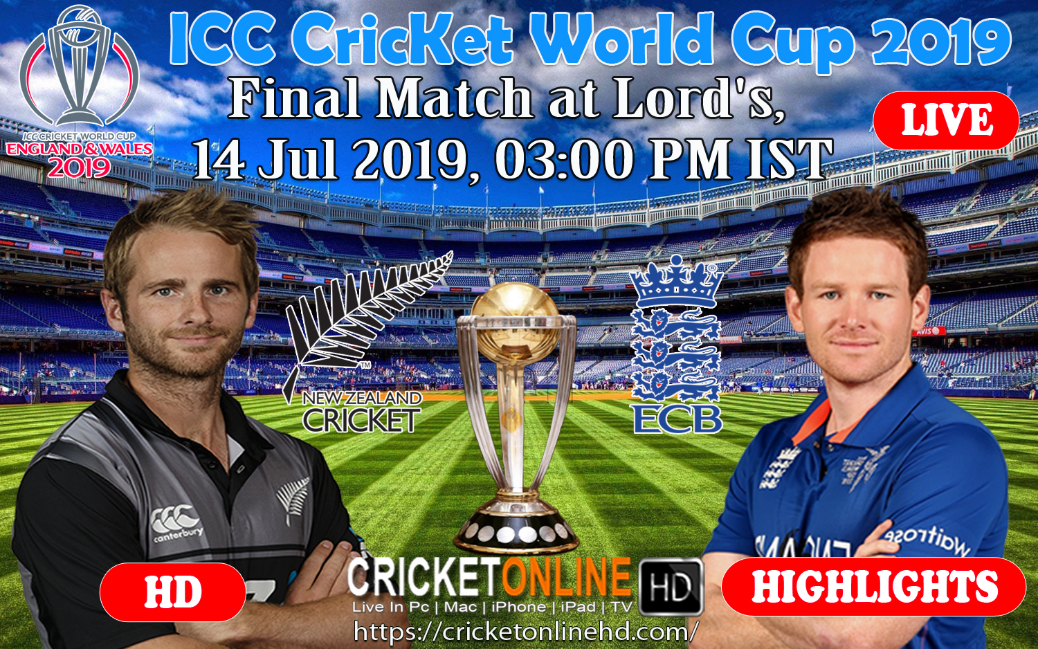New Zealand Vs England Final Match, ICC Cricket World Cup 2019 Streaming HD At Lord's, July 14